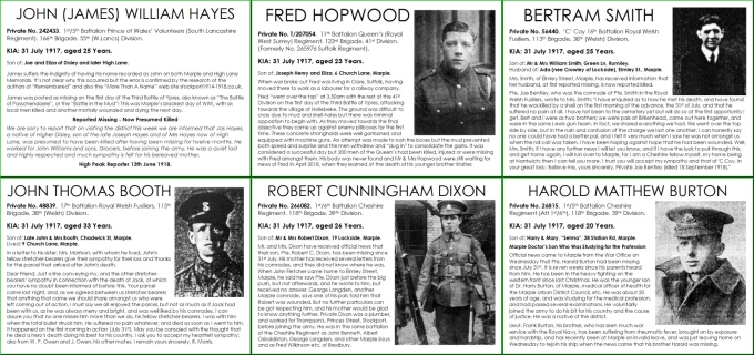 6 Marple men lost on 31 July 1917
