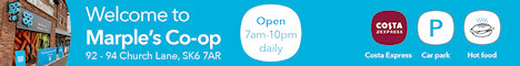Welcome to Marple's Co-op on Church Lane: Open 7am - 10pm daily