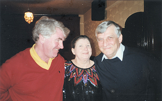David and Jack with the ubiquitous 'Sadie' the landlady of the Hatters for 30 years