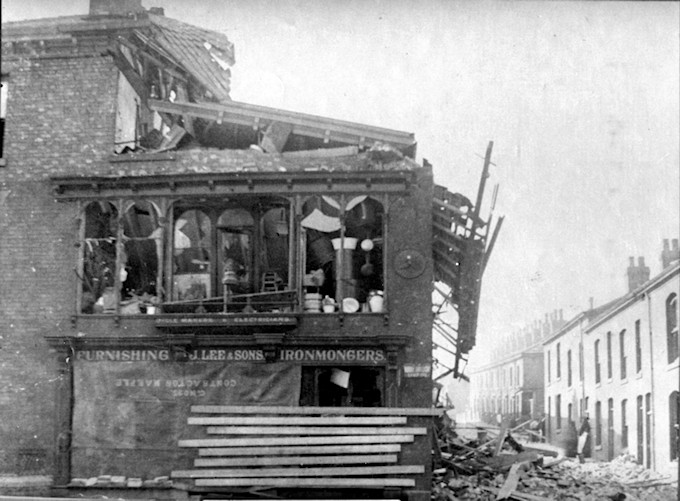 The front of the shop after the explosion