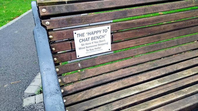 Happy to Chat Bench in Memorial Park