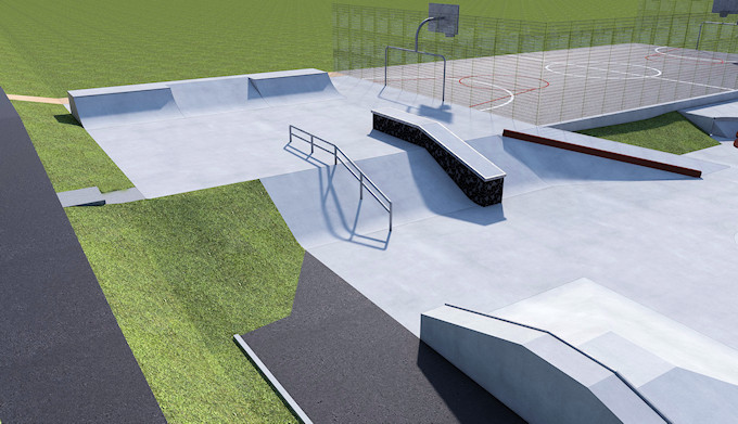 Marple Skatepark Phase II - Top section and MUGA