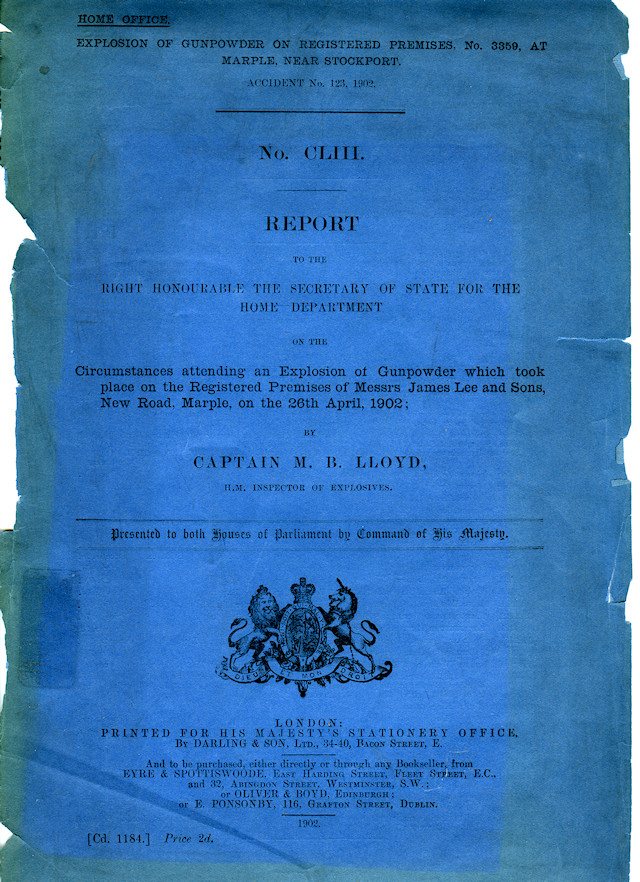 Cover of the original copy of Captain Lloyd's report from MLHS archives.