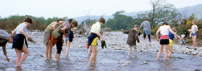 Paddling across a river during the 1963 YHA Holiday